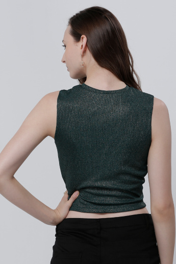 Ribbed Sleeveless Crop Top with Eyelet Detail