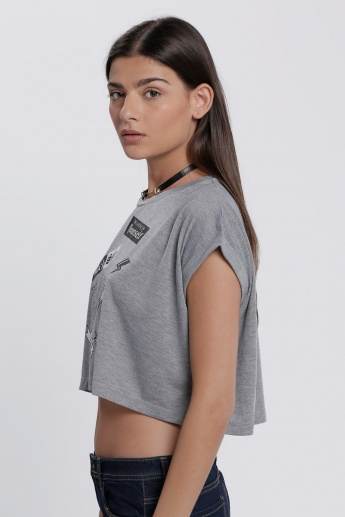 Printed Crop Top with Round Neck