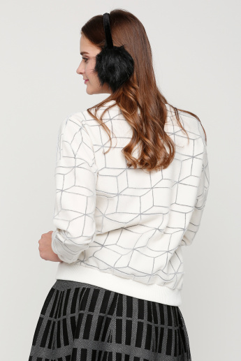 Round Neck Textured Sweater with Long Sleeves