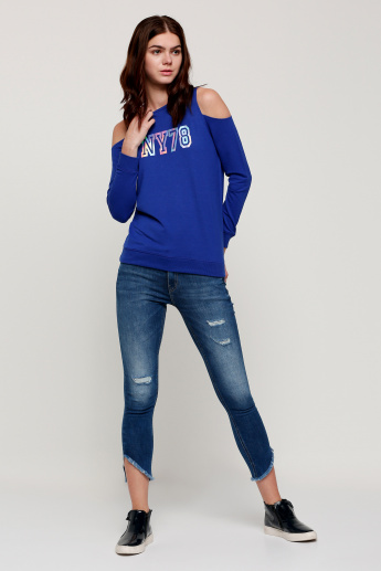 Printed Round Neck Sweatshirt with Cold Shoulders and Long Sleeves