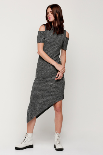 Round Neck Asymmetrical Dress with Cold Shoulder