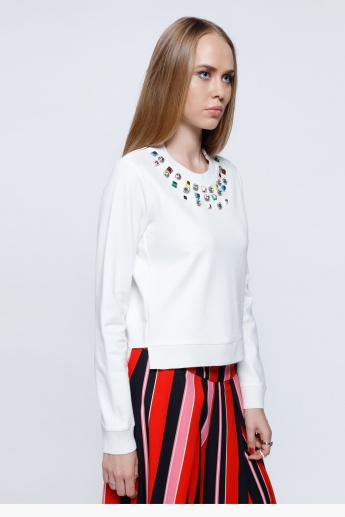 Elle Embellished Sweatshirt with Round Neck and Long Sleeves