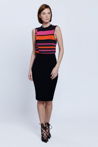 Elle Knitted Pencil Skirt with Elasticised Waistband