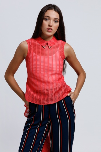 Sleeveless Top with High Low Hem