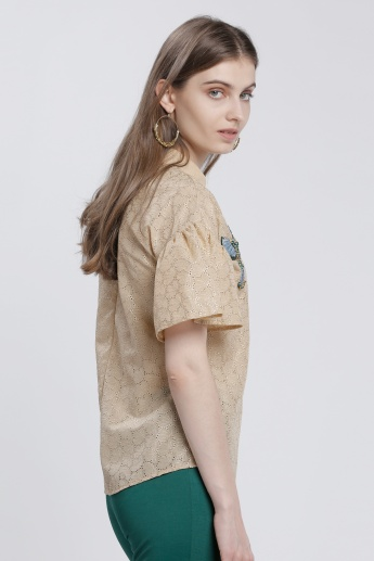 Elle Embellished Top with Peter Pan Collar and Short Sleeves