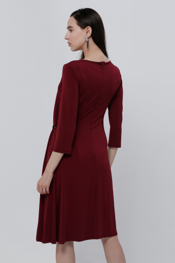 Elle Knee Length Dress with Ring Detail and 3/4 Sleeves