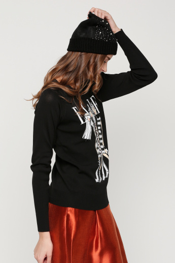 Elle Printed Round Neck Sweat Top with Long Sleeves