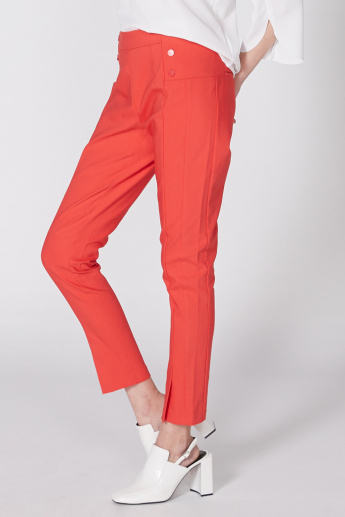Elle Full Length Trouser with Elasticised Waistband and Button Detail