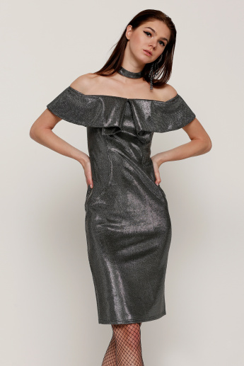 Elle Off Shoulder Midi Dress with Choker Neck