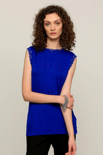 Elle Embellished Sleeveless T-Shirt with Lace detail