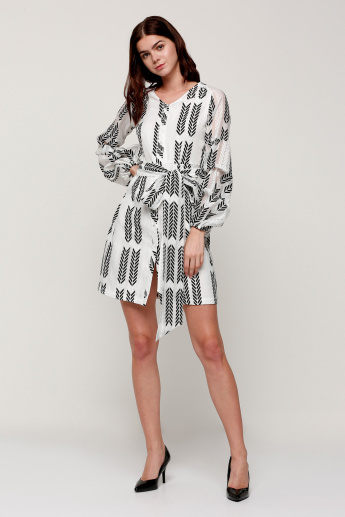 Elle Printed Dress with Balloon Sleeves and Tie Up