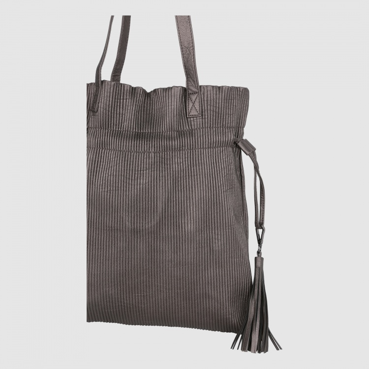 Textured Tote Bag with Drawstring Closure