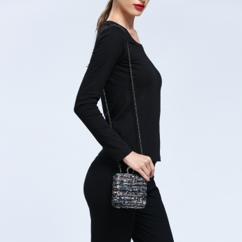Iconic Textured Hard Case Clutch with Studs