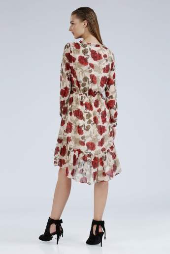 Iconic Printed Dress with Long Sleeves and Frilled Detail