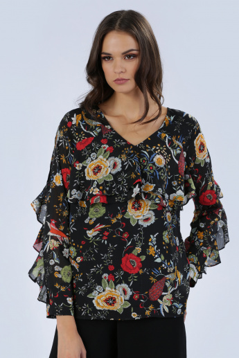 Iconic Printed Top with V-Neck and Ruffled Sleeves