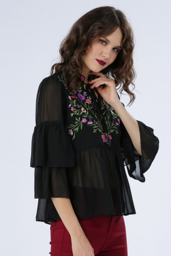 Iconic Embroidered Top with Tie-Up Detail