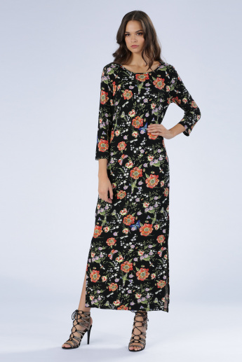 Iconic Floral Print Maxi Dress with Long Sleeves