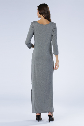 Iconic Melange Maxi Dress with Long Sleeves