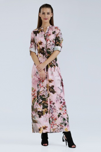 Iconic Printed Maxi Dress with Roll Up Sleeves