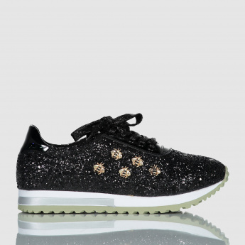 Iconic Embellished Sneakers with Lace-Up Closure