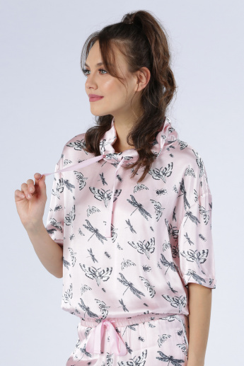 Iconic Printed Top with Drawstring Detail