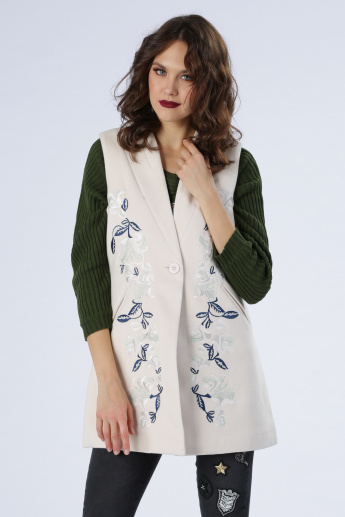 Iconic Sleeveless Jacket with Embroidered Detail