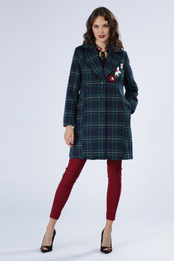 Iconic Chequered Long Line Jacket with Long Sleeves