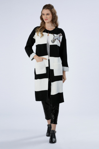 Iconic Striped Cardigan with Embellishment and Long Sleeves