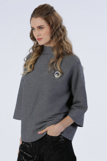 Iconic Embellished Round Neck 3/4 Sleeves Sweater