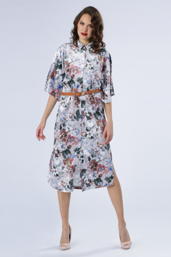 Iconic Printed Shirt Dress with Kimono Sleeves
