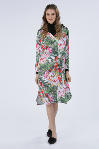 Iconic Printed Dress with Long Sleeves