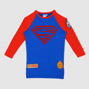 Iconic Superman Printed Round Neck Long Sleeves Sweatshirt