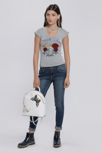 Lee Cooper Printed Choker Neck T-Shirt with Frilled Detail