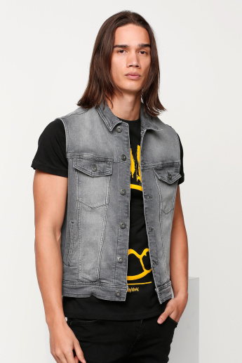 Sustainability Lee Cooper Sleeveless Denim Jacket with Button Placket