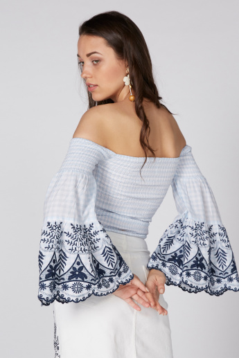 Lee Cooper Embroidered Top with Off Shoulder and Flared Sleeves