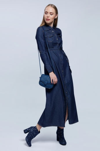 Denim Long Dress with Long Sleeves and Tie Up