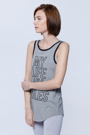 Graphic Print Sleeveless T-Shirt with Criss Cross Back