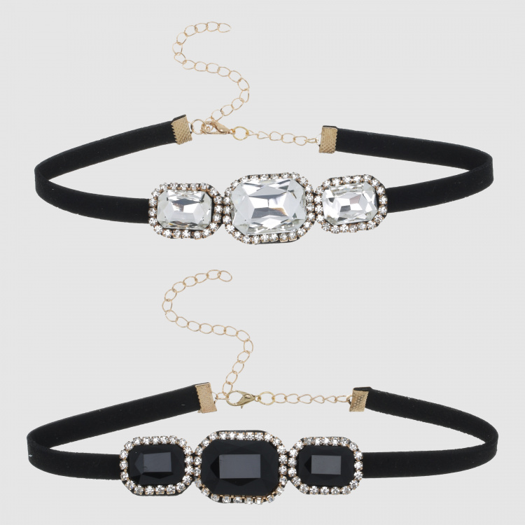 Studded Choker Necklace with Lobster Clasp - Set of 2