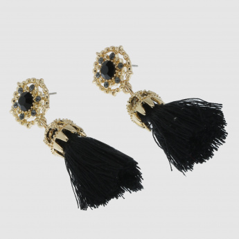 Tassel Dangling Earrings with Push Back Closure
