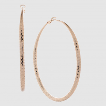 Textured Hoop Earrings with Latch Closure