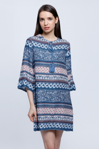 Printed Top with 3/4 Sleeves and Drawstring Detail