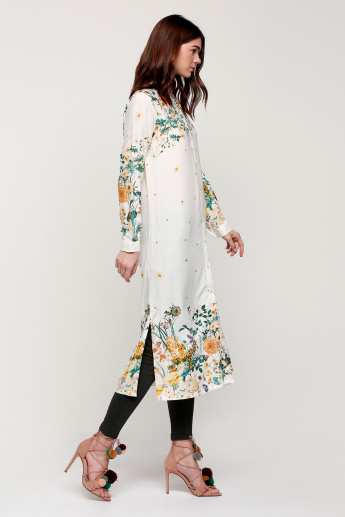 Printed Tunic with Long Sleeves and Side Slits