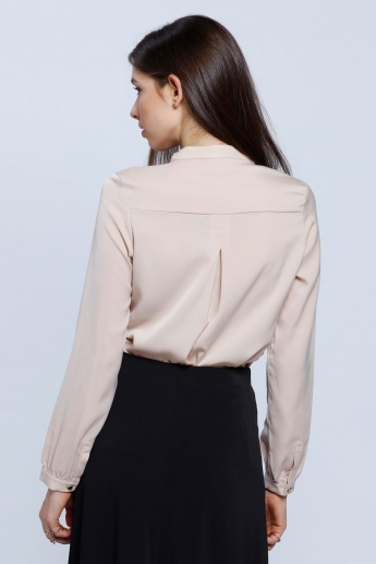 Mandarin Collar Shirt with Buttoned Lapel and Long Sleeves