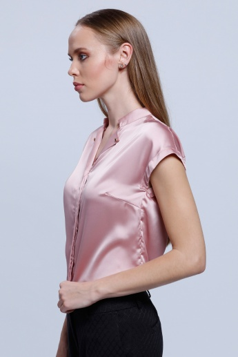 Short Sleeves Top with Mandarin Collar