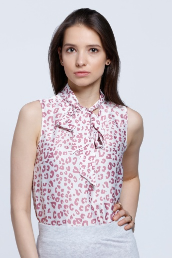 Sleeveless Printed Blouse with Bow Detail