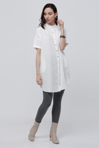 Mandarin Collar Longline Top with Short Sleeves