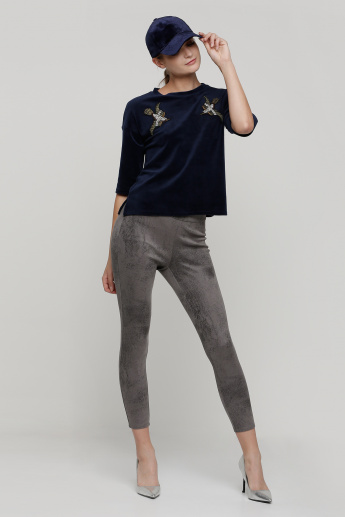 Full Length Textured Trouser with Elasticised Waistband