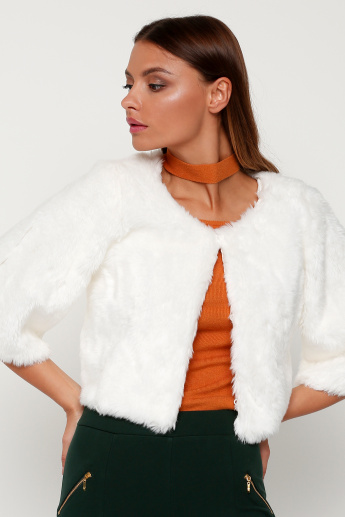 Plush Detail Cropped Jacket with 3/4 Sleeves