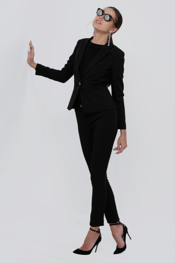 Notch Collar Blazer with Button Closure and Long Sleeves