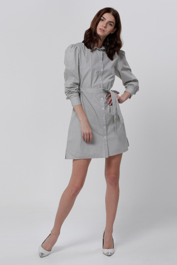 Dress with Button Placket and Long Sleeves